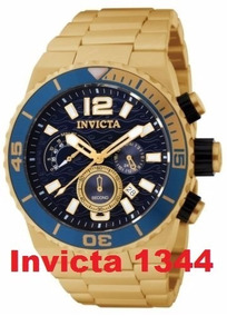 Relogio Invicta Chronograph Ouro Fundo Azul Ref 1344