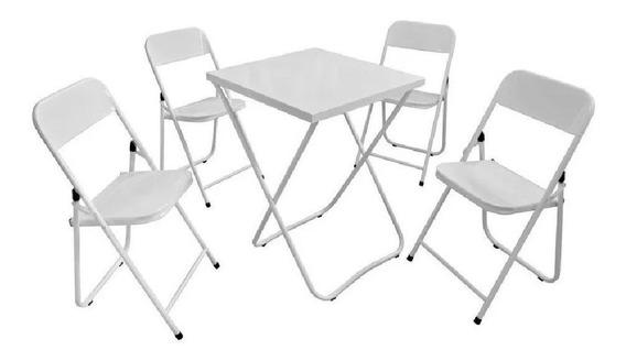 Mesa Bar Aco 4 Cadeiras Festa Dobravel Resistente Pratica