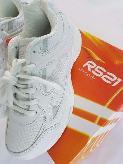 Zapatos Deportivos Rs21 Colegial Escolar Blancos Talla 35