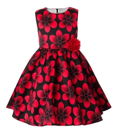 Vestido Infantil Estampado Vermelho E Preto 7 E 8 Anos