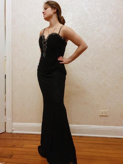 Vestido Fiesta Negro Largo Entallado Nuevo Encaje Corsette