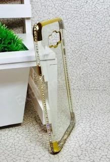 Case Capa Capinha Silicone J5 Metal J510 Dourada Com Strass
