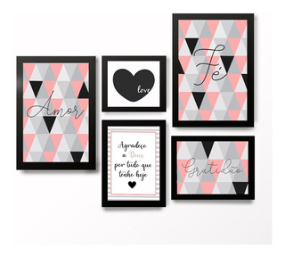 Kit Quadros Decorativos Com Moldura Frases Motivacionais Abstrato Love Quarto Sala