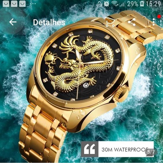 Relógio Skimei Dragao Fund Pret Dragão Dourad Rezis D,agua