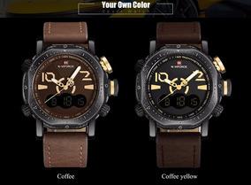 Relógio Masculino Naviforce 9094 Pulseira De Couro Alarme