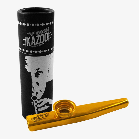 Kazoo Profissional Turbo Dourado Sopro Metal C/ Case + Nf