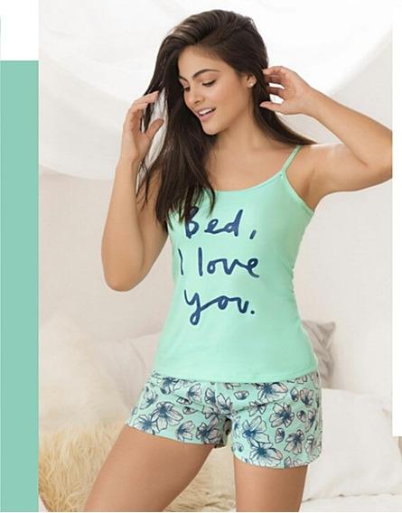 Pijama Love Primaveral Blusa Short Juvenil Menta