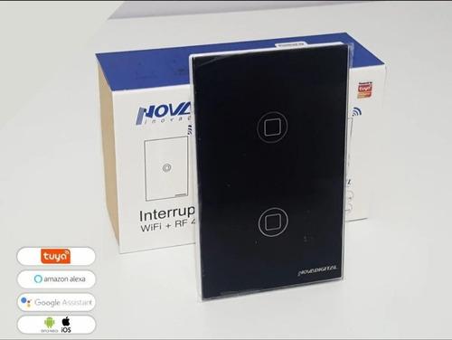 Interruptor Digital Wifi Preto 2t & Rf433 - Alexa - Anatel