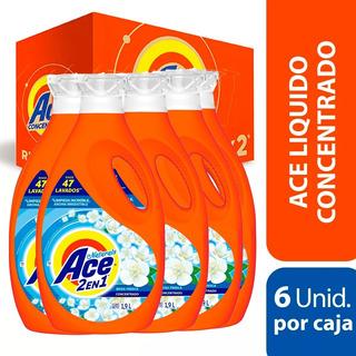 Pack 6 Botellas Detergente Ace Liquido Concentrado 1,9 Lt
