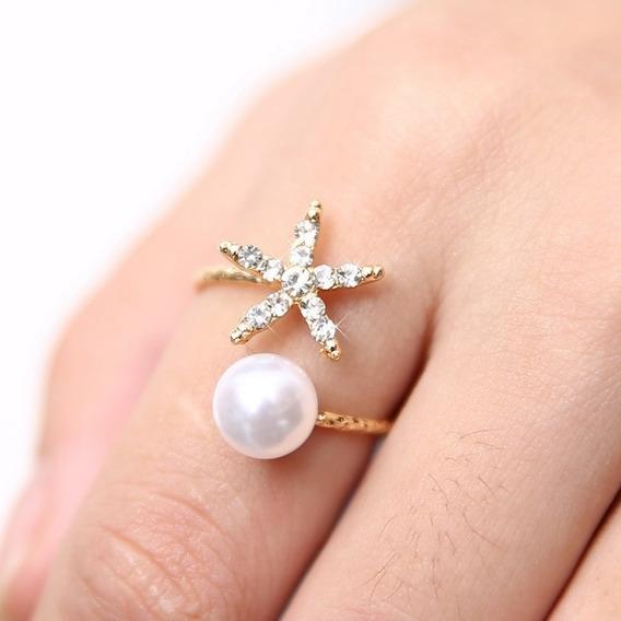 Anel Feminino Ajustável Estrela Do Mar Imita Pérola Dourado