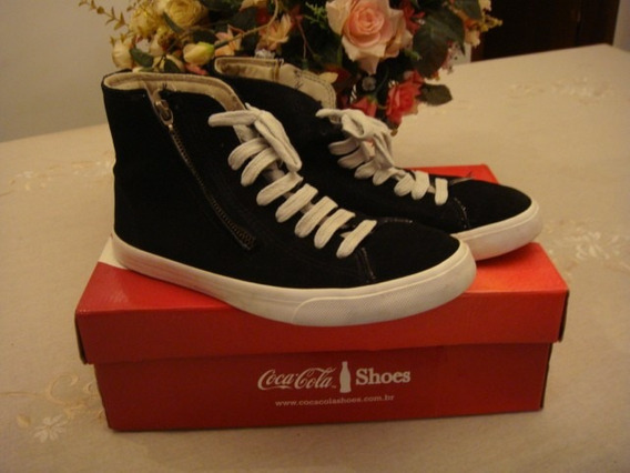 Tênis Coca Cola Shoes Rambla Sued Preto Ziper Tam. 38
