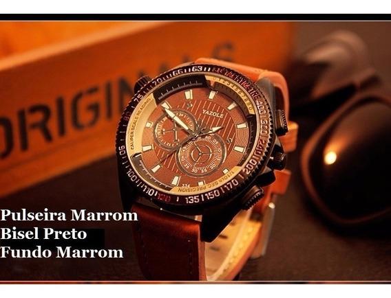 Promoção ! Relógio Esporte Pulseira De Couro Yazole Yz334