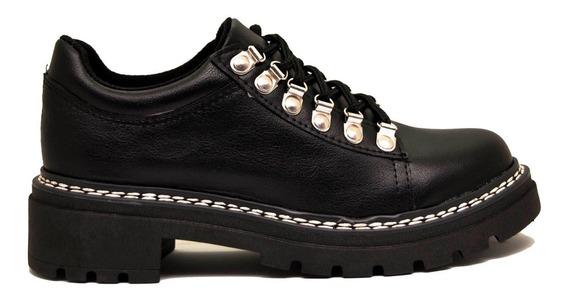 Zapatos Abotinados Con Alpino En Cuero Ecológico Negro