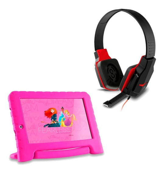 Kit Fone Headset Gamer + Tablet Princesas Disney.