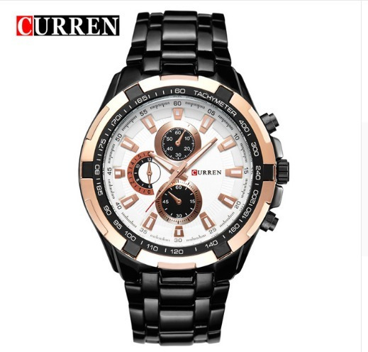 Relógio Masculino Luxo Curren 8023 Preto Rose Fundo Branco