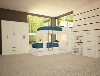 Placard Dormitorio 5 Puertas 2 Cajones Varios Colores
