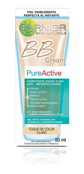 Crema Facial Bb Cream Garnier Pureactive Tono Claro 50ml