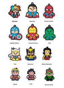 Kit 12 Chaveiros Borracha Personagens Super Herois Marvel