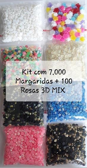 Kit 7.000 Margaridas 3mm + 100 Rosas 3d Mix Pedrarias Unhas