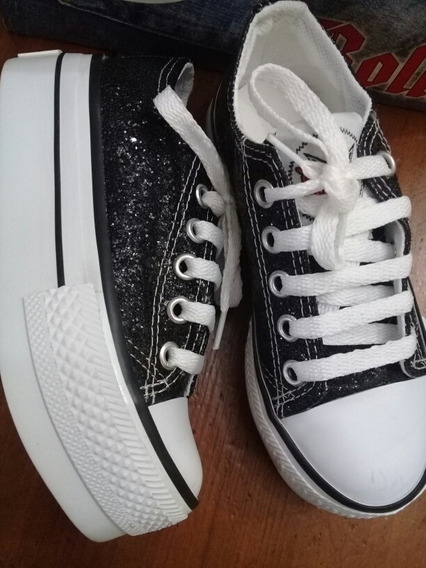 Zapatillas Negro Brillo Plataforma Moda Mama Hija