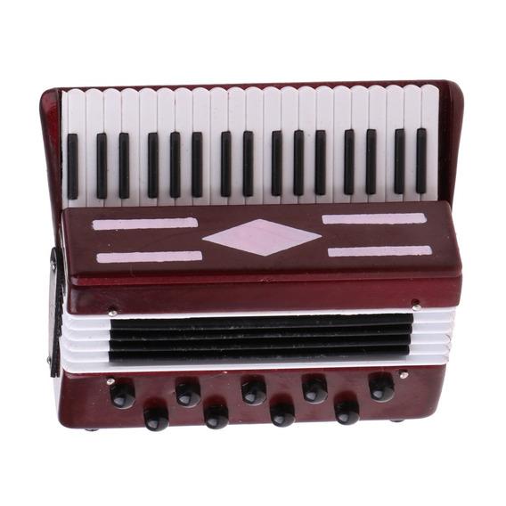 1/6 Escala Instrumento Musical De Madeira Acordeão Para Fig