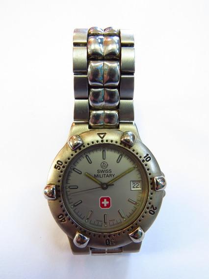 Swiss Military Relógio Pulso Suíço Com Data Em Aço Inox