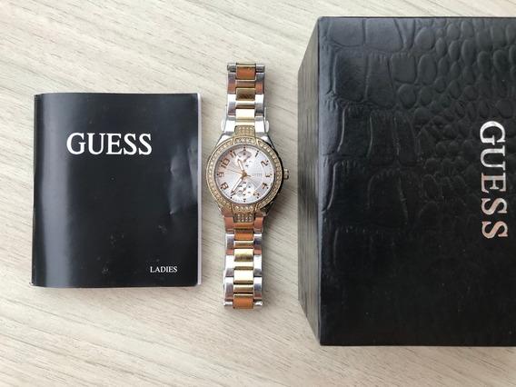Relógio Guess Original Feminino Prateado E Dourado W15065l3