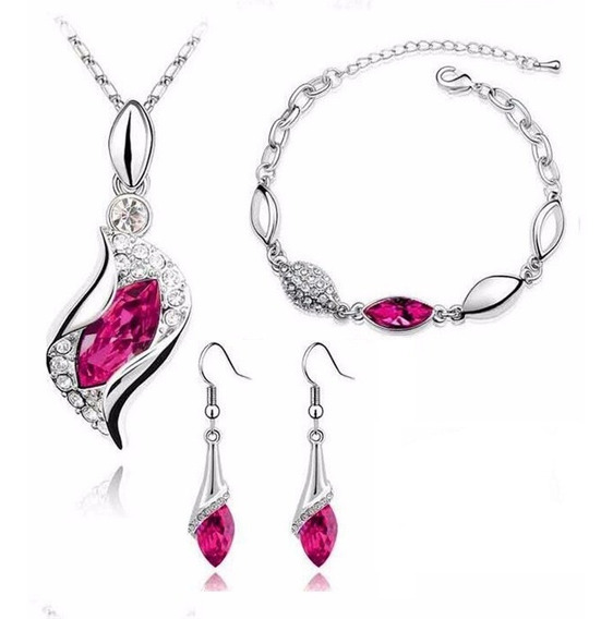 Set Cristal Caja Y Cert Collar Pulsera Aretes Rosa
