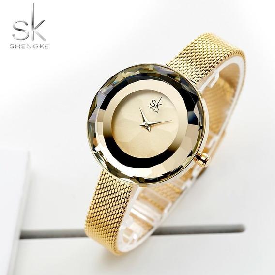 Relógio Feminino Shengke Luxo Original Com Caixa