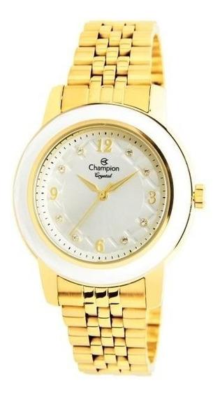 Relógio Champion Feminino Ref: Cn24048h Casual Dourado