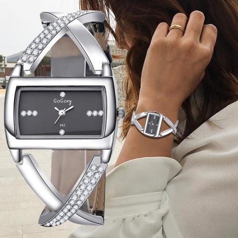 Relógios Femininos Luxo Strass Pulseira Moda Senhoras K2699