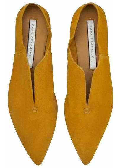Zapatos De Cuero Zara Nuevos Color Mostaza