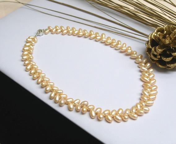 Collar Perlas De Río Auténticas Forma De Trigo, Clásico