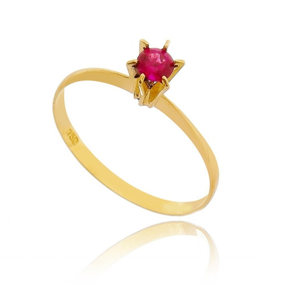 Anel Com Pedra Vermelha - Ouro 18 K / 750