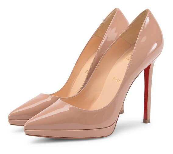 Sapato Plato Nude Sola Vermelha 36 12 Cm De Marca Famosa