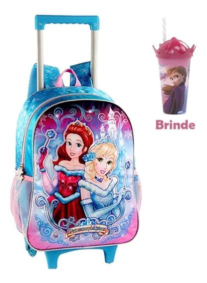 Mochila Escolar Infantil Princesas Ice E Copo De Brinde