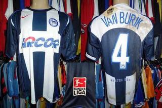 Hertha Berlim 2004 Camisa Titular Tamanho G #4 Van Burik.