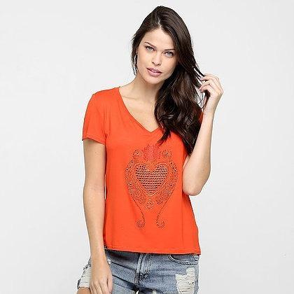 Camiseta Lança Perfume Gola V Pedraria