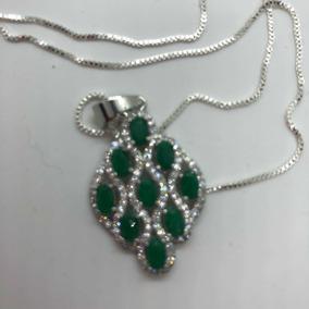 Colar De Prata 925 Com Pingente De Quartzo Verde