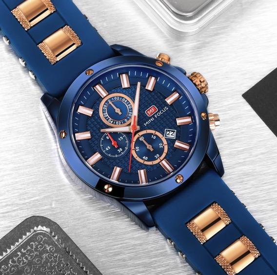 Relógio Masculino Aço Inox Borracha Azul Dourado Mini Focus