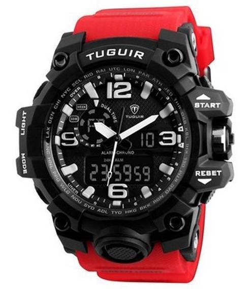 Relógio Masculino Tuguir Anadigi Tg1155 Preto E Vermelho