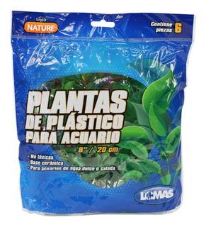 6 Plantas Plástico Acuario 20cm Surtidas Decoración Lomas
