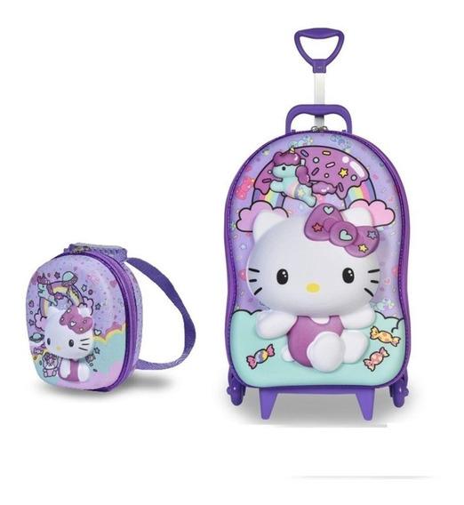 Mochila Escolar Rodinhas Lancheira 3d 3 D Hello Kitty