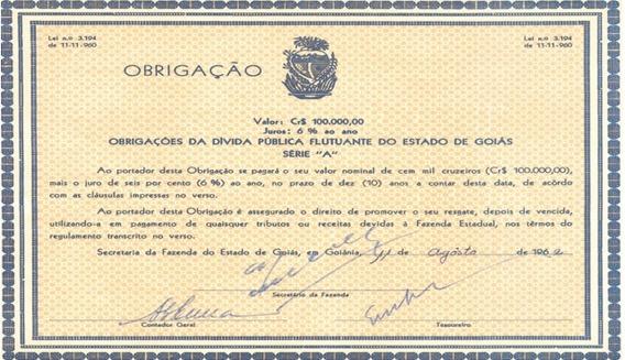 Obrigação Da Dívida Pública Flutuante De Goiás - Séria A