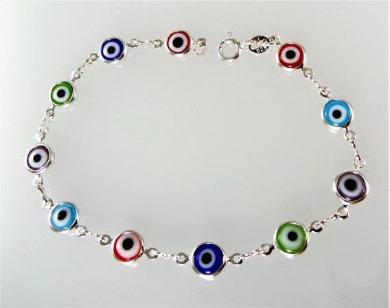 Pulseira Prata 11 Olhos Gregos Coloridos 19cm