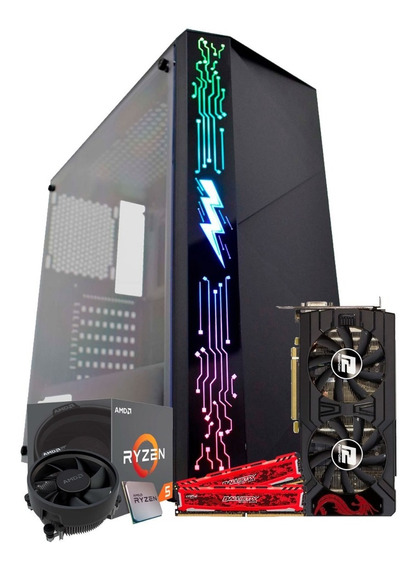 Pc Gamer Powered By Asus Ryzen 5 2600 / Rx 570 4gb, 8gb Ddr4