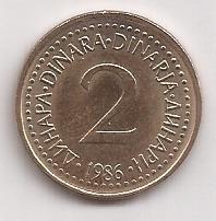 Yugoslavia Moneda De 2 Dinaras Año 1986 Excelente !