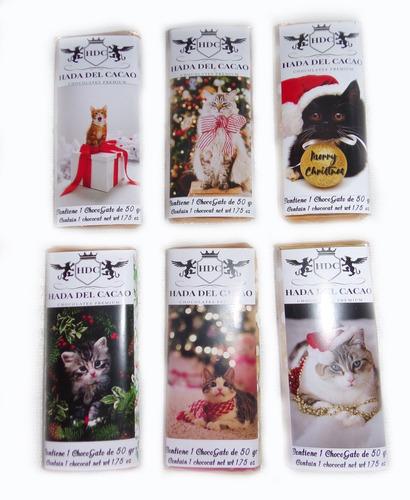 Imagen 1 de 6 de Pack Regalo Navidad Chocolates Gatos (choco Gato) + 6 Barras