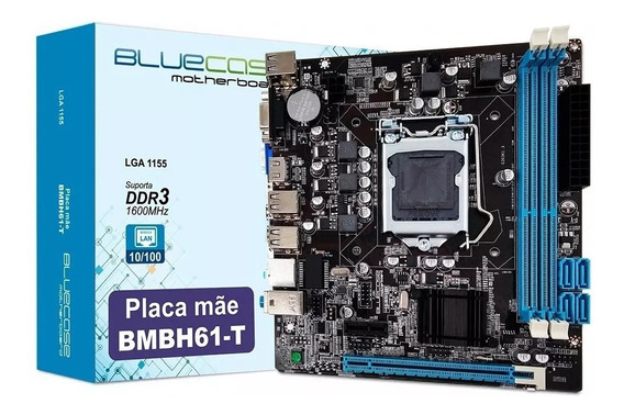 Placa Mãe Bluecase Bmbh61-t Intel Lga 1155 Ddr3 Chipset H61