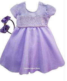 Vestido Infantil Sofia Lilas Baby Dora Doll Bebe Reborn